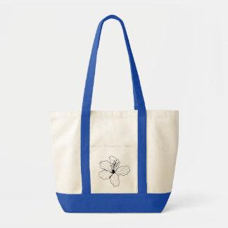 Vintage Black and White Flower Illustration Tote Impulse Tote Bag