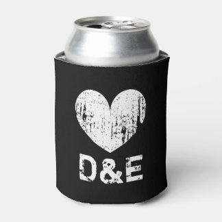 Vintage black and white heart wedding can coolers