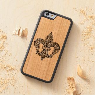 Vintage Black and White Lacy Fleur De Lis Cherry iPhone 6 Bumper Case