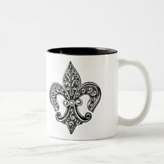 Vintage Black and White Lacy Fleur De Lis Two-Tone Mug