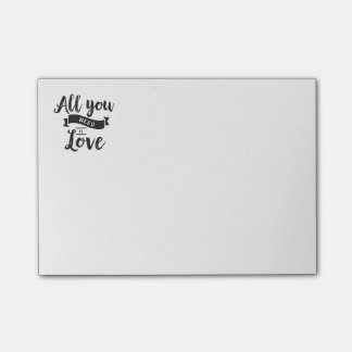Vintage Black and White Love Wedding Typography Post-it Notes