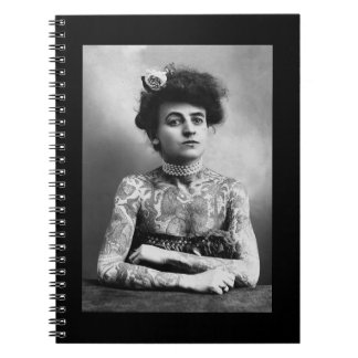 Vintage Black and White Photo of Tattooed Lady Notebook