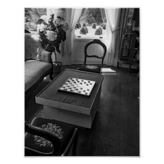 Vintage Black And White  Photograph Checkers Poster