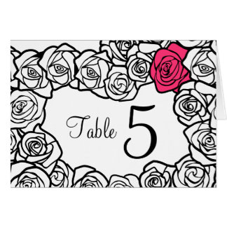 Vintage black and white pink roses Table Number Greeting Card