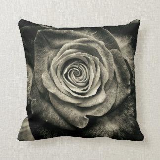 Vintage Black and White Rose Cushion