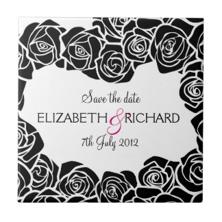 Vintage black and white roses Save the date Tile