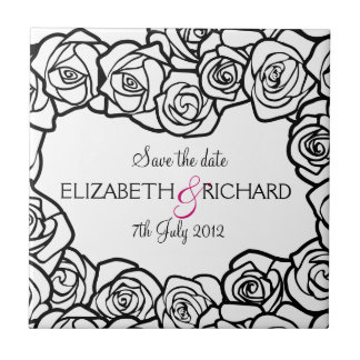 "Vintage black and white roses ""Save the date"" Tile"