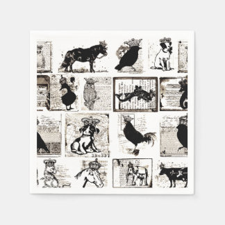 Vintage Black And White Royal Animals Disposable Serviettes