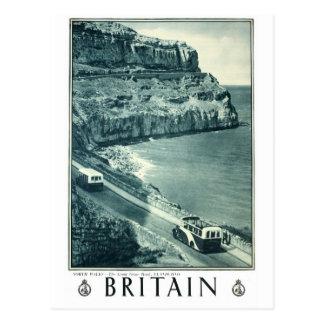 Vintage Black and White Visit Britain Poster Postcard