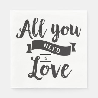 Vintage Black And White Wedding Love Typography Disposable Serviettes