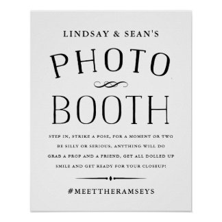 Vintage Black and White Wedding Photo Booth Poster