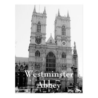 Vintage black and white Westminster Abbey postcard