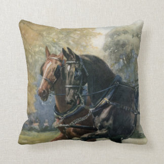 Vintage Black Beauty and Ginger friends in harness Throw Pillow