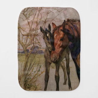 """Vintage Black Beauty horse """"My Mother and I"""" Burp Cloth"""
