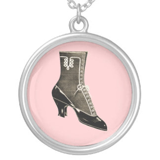 Vintage Black Boot Round Pendant Necklace