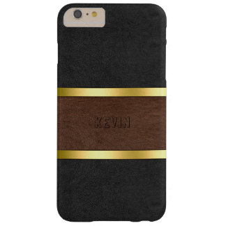 Vintage Black & Brown Leather Gold Accents Barely There iPhone 6 Plus Case