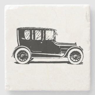 Vintage Black Car Illustration Stone Coaster