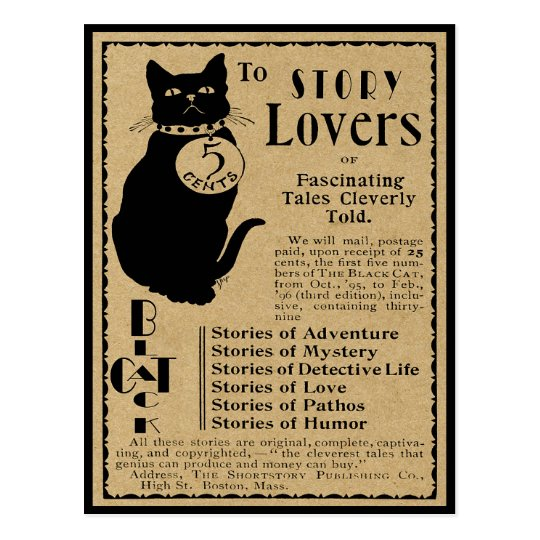 "VINTAGE ""BLACK CAT"" ADVERTISEMENT FOR STORY LOVERS POSTCARD"