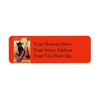 Vintage Black Cat and Broom Return Address Label