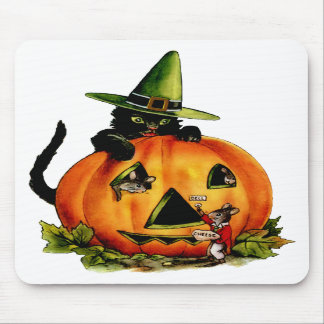 Vintage Black Cat and Pumpkin Mousepad