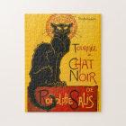 Vintage Black Cat Art Nouveau Chat Noir Steinlen Jigsaw Puzzle