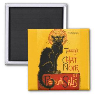 Vintage Black Cat Art Nouveau Paris Cute Chat Noir Square Magnet