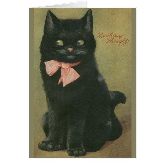 Vintage Black Cat Birthday Greeting Card