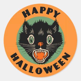Vintage Black Cat - Happy Halloween Sticker