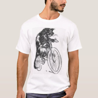 Vintage Black Cat On Bicycle T-Shirt