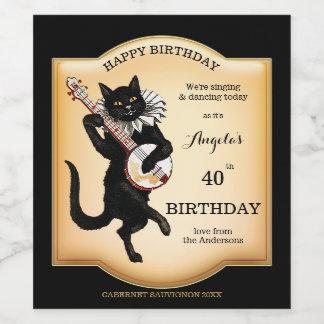 Vintage Black Cat Personalised Wine Label