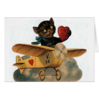 Vintage Black Cat Pilot Valentine's Day Card
