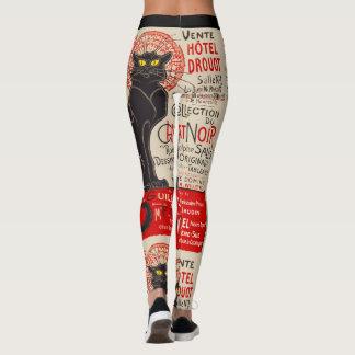 Vintage Black Cat Tournee Du Chat Noir Poster Art Leggings