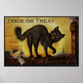 Vintage Black Cat Trick or Treat Humorous Poster