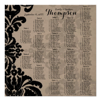 Vintage Black Damask Brown Paper Seating Chart