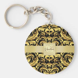 Vintage Black Damask Gold Monogram Keychain