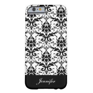 Vintage Black Damask Pattern with Monogram Border Barely There iPhone 6 Case