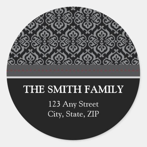 Vintage Black Damask Return Address Sticker