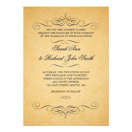 Vintage Black Damask Swirls Flourish Wedding Announcement