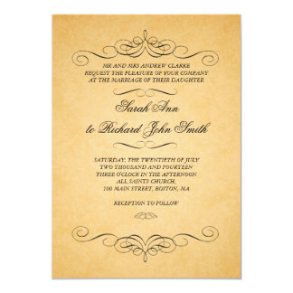 "Vintage Black Damask Swirls Flourish Wedding 5"" X 7"" Invitation Card"