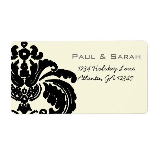 Vintage Black Damask Wedding Lable