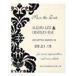 Vintage Black Damask Wedding Save the Date Personalised Invite