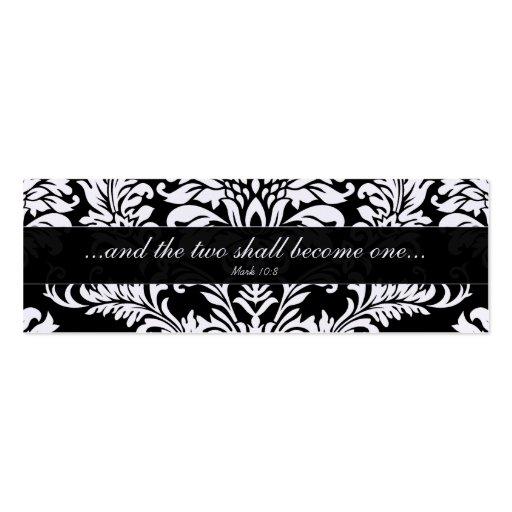 Vintage Black Damask Wedding Tags Business Cards