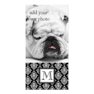 VINTAGE BLACK DAMASK YOUR MONOGRAM CUSTOM PHOTO CARD