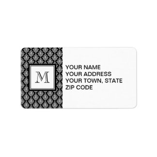 VINTAGE BLACK DAMASK YOUR MONOGRAM ADDRESS LABEL