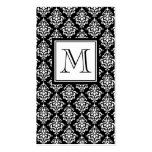 VINTAGE BLACK DAMASK YOUR MONOGRAM PACK OF STANDARD BUSINESS CARDS