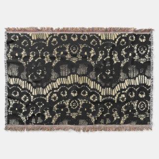 Vintage black elegant french floral lace faux gold throw blanket