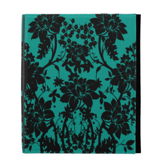 Vintage black floral design on Peacock green iPad Folio Covers