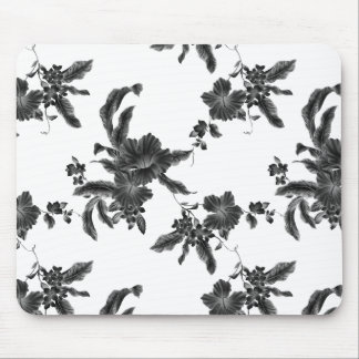 Vintage Black Floral Pattern Mouse Pad