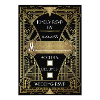 Vintage Black & Gold Art Deco Wedding RSVP Cards