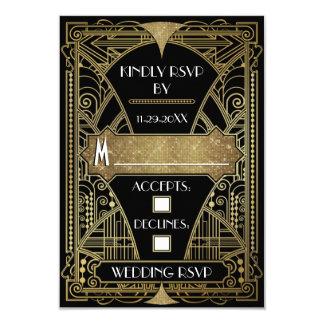 Vintage Black & Gold Art Deco Wedding RSVP Cards 9 Cm X 13 Cm Invitation Card
